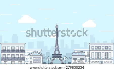 flat design paris  france with