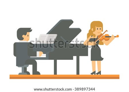 flat design piano and violin