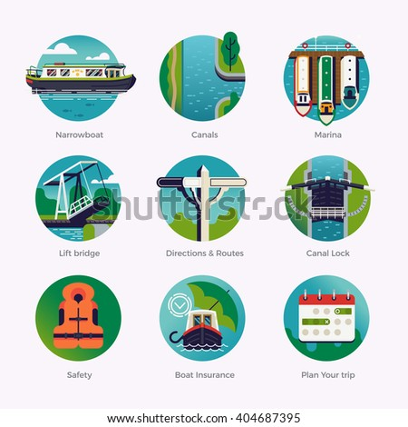 Flat design quality round web icons set on canal boat, narrowboat, boating holidays weekend touring. Hiring narrowboat for rent. Waterway travel. British traditional stern narrowboat recreation