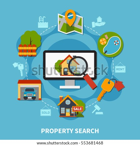 Flat design real estate concept with various property search and sale elements on blue background vector illustration