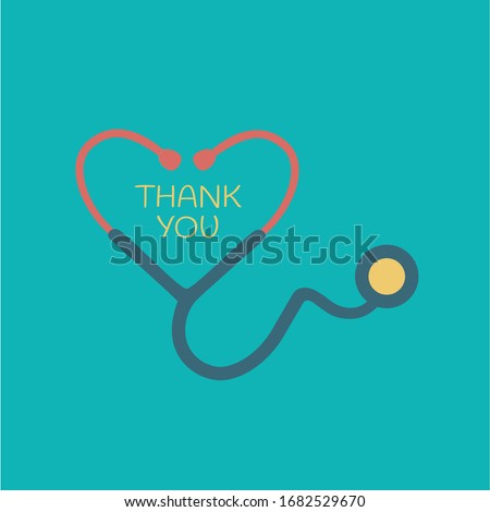 flat design red heart shape Stethoscope medical instrument vector icon. health care love support logo. thank you doctor & nurse. outbreak coronavirus symbol. save life pandemic. emblem support concept