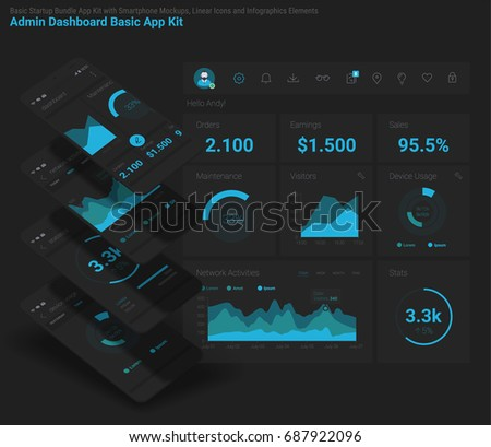 Flat design responsive Management and Administration Dashbord UI mobile app template on trendy subtle blurred background, with 3d smartphone mockups and infographics charts kit