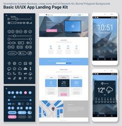 Flat design responsive pixel perfect UI mobile app and website template