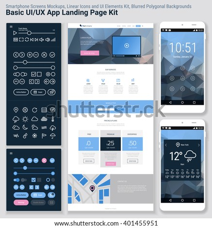 Flat design responsive pixel perfect UI mobile app and website template