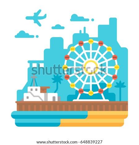 flat design santa monica pier