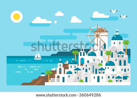 flat design santorini cityscape