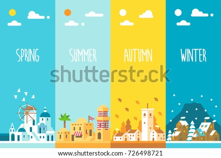 Flat design 4 seasons background illustration vector