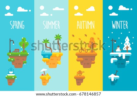 flat design 4 seasons floating