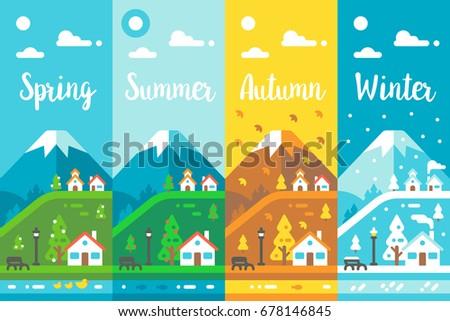 flat design 4 seasons village