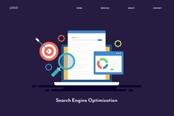 Flat design - Seo marketing, Search engine optimization, Search analysis - conceptual vector illustration with icons and texts