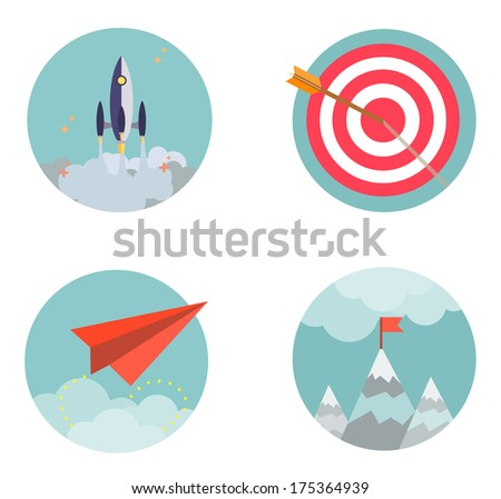 Flat design set icons Start up Business development success result strategy concept  vector illustration