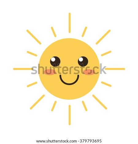 flat design smiling cartoon sun