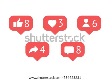 Flat design social network rating icons: thumbs up icon, heart symbol, repost and new follower set.