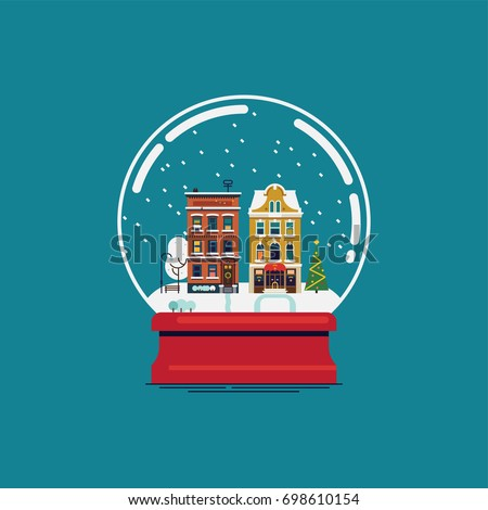 flat design souvenir snow globe