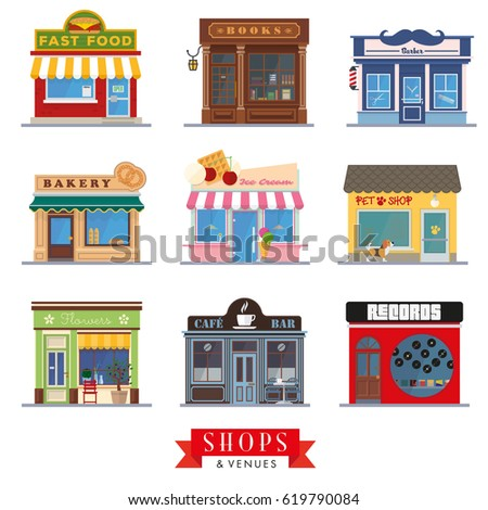Flat design store fronts. Set of 9 shops and venues vector icons