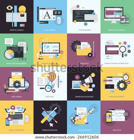 Flat design style concept icons on the topic of graphic design, logo design, website development, responsive design, app development, SEO, digital marketing, project management, market research.