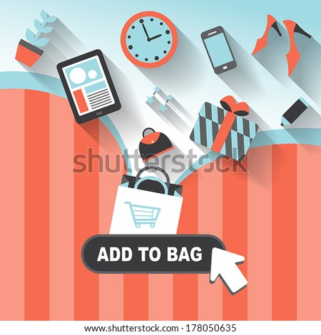 flat design style concept of add to bag
