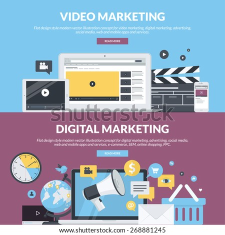 Flat design style concepts for video marketing, digital marketing, advertising, social media, web and mobile apps and services, e-commerce, SEM. Concepts for website banners and printed materials.