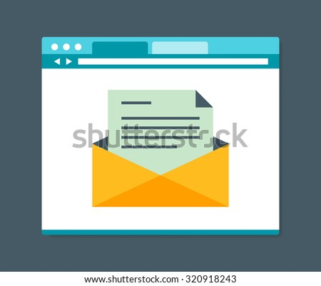 Flat design style e-mail in internet browser, vector illustration