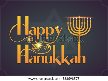 Happy hanukkah typographic illustration download free vector art flat design style happy hanukkah logotypehappy hanukkah card template m4hsunfo