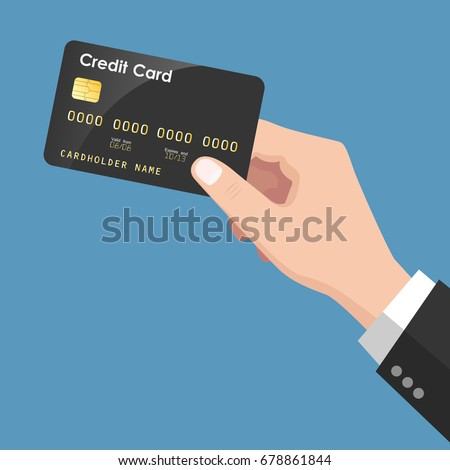Flat Design style Human hand holding with credit card ,isolate on blue background ,vector design Element illustration Foto stock ©