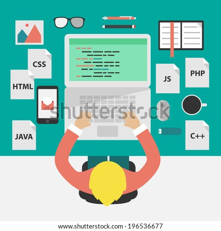 Flat design style illustration concept: coding and programming.