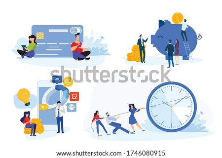 Flat design style illustration of online payment, m-commerce, e-banking, time management, savings. Vector concept for website banner, marketing material, business presentation, online advertising.
