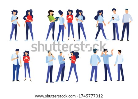 Flat design style illustration of people in different poses, communicate and use a mobile phone. Vector concept for website banner, marketing material, business presentation, online advertising.