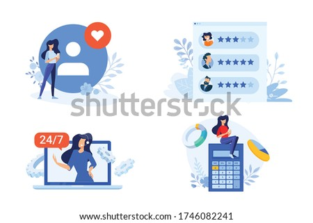 Flat design style illustration of star rating, review, online support, calculation . Vector concept for website banner, marketing material, business presentation, online advertising.