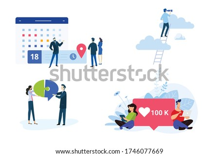 Flat design style illustration of task management, vision, business solution, teamwork, social network. Vector concept for website banner, marketing material, business presentation, online advertising
