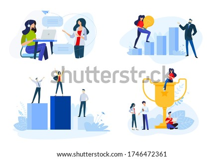 Flat design style illustrations of business success, online support. Vector concepts for website banner, marketing material, business presentation, online advertising.