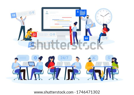 Flat design style illustrations of task management, online support, call center. Vector concepts for website banner, marketing material, business presentation, online advertising.