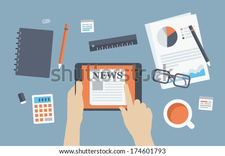 Flat design style modern vector illustration concept of business person reading latest news on digital tablet at business workplace with office items and objects. Isolated on stylish background.