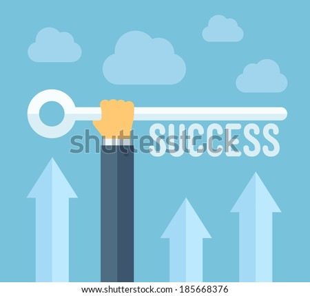 Flat design style modern vector illustration concept of hand holding a key of success, meaning overcoming difficulties, goals achievement, opportunities for business development.