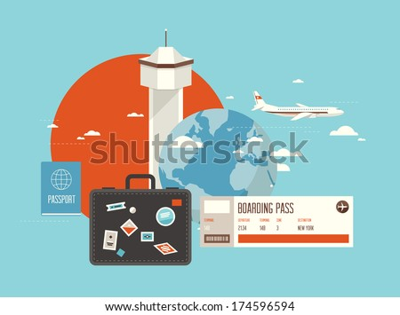 Flat design style modern vector illustration concept of planning a summer vacation, online booking a ticket on a trip, flying a plane to travel destination. Isolated on stylish background.