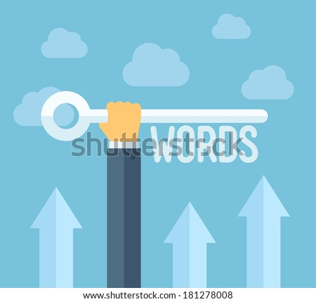 Flat design style modern vector illustration concept of search engine optimization, selecting relevant keywords for success SEO, optimize website for traffic growth and rank result