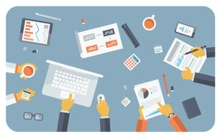 Flat design style modern vector illustration concept of teamwork consulting on briefing, small business project presentation, group of people planning, brainstorming idea of company financial strategy