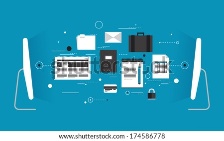 Flat design style modern vector illustration concept of two computers wireless connected and transferring various data information via internet communication. Isolated on stylish colored background.