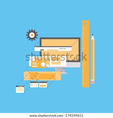 Flat design style modern vector illustration concept of website user interface design and development process, web page form programming and layout prototyping. Isolated on blue background
