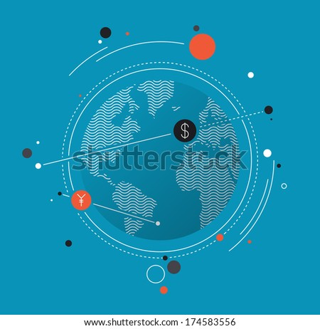 Flat design style modern vector illustration concept of world currency exchange, converting money with yen and dollar symbols, global trading on stock market. Isolated on white background