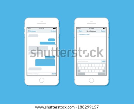 Flat design style modern vector illustration concept set of mobile phone messaging, sms communication with blank speech bubble, new mail message interface template form on smartphone.