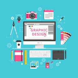 Flat design style modern vector illustration icons set of graphic designer items and tools, office various objects and equipment. Isolated on stylish color background