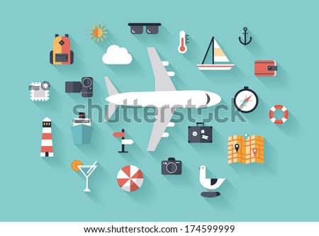 Flat design style modern vector illustration icons set of traveling on airplane, planning a summer vacation, tourism and journey objects and passenger luggage. Isolated on stylish background.