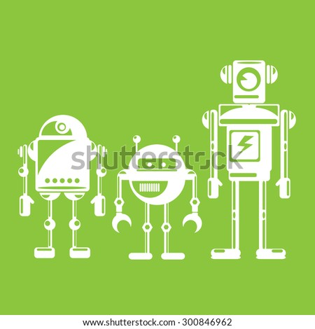 flat design style robots and