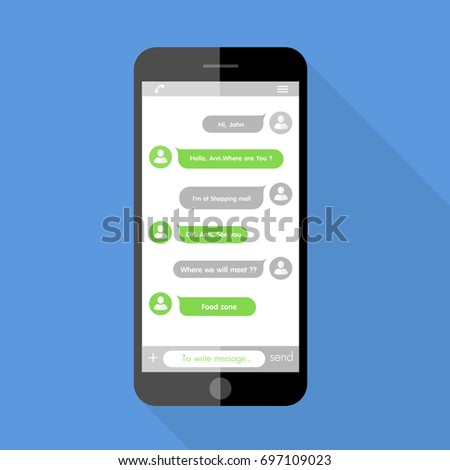 Flat  Design style  the smartphone with chat online application on screen  ,vector design Element illustration