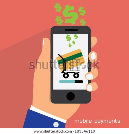 Flat design style vector illustration of modern smartphone with processing of mobile payments