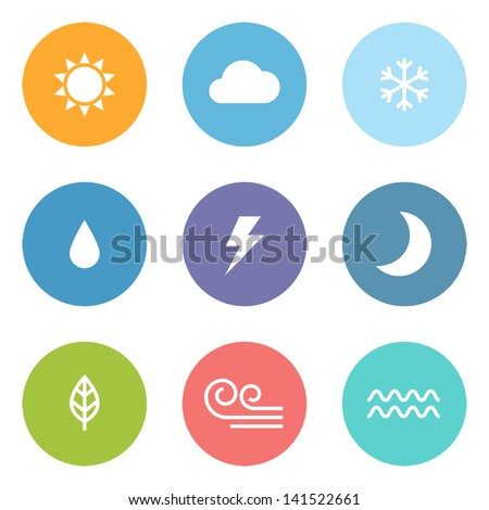 flat design style weather icons