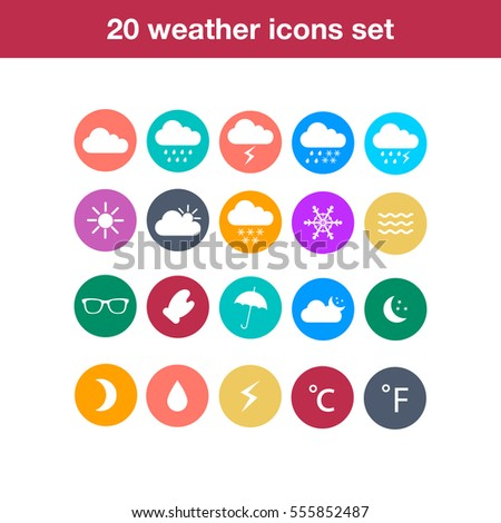 Flat design style weather icons.