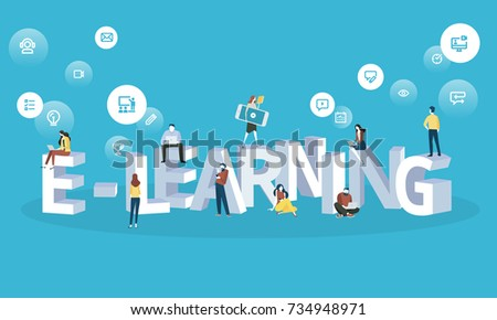 Flat design style web banner for e-learning, distance education, online learning. Vector illustration concept for web design, marketing, and print material.