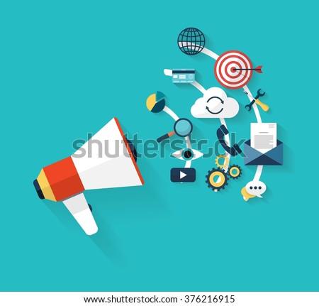 Flat design stylish vector illustration megaphone with icons of social media marketing, digital marketing, online advertising, creative business internet strategy and market promotion development.